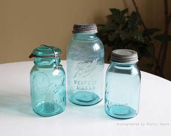 Vintage Blue Mason Ball Jars Set of 3