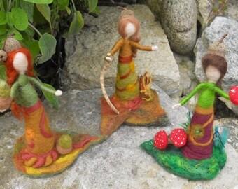 Autumn fairies, fall fairies,oak fairies, woodland fairies,forest folk,needle felted fairies, Waldorf, Play Mat,  pre school, nursery school
