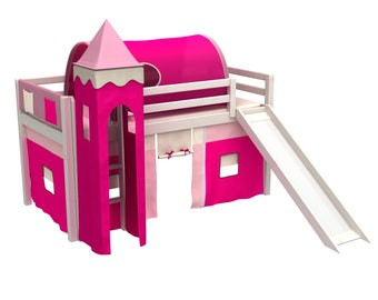 Children bed with slide,tower,curtain,mattress,slats under mattress .Mid-height bed.