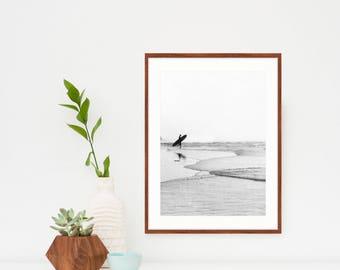 Surf Wall Art, Framed Surf Print, Photography, Kids Room, Dorm Room, Surf Decor, Beach Decor, Surf Bedroom, Black And White, Vertical Print