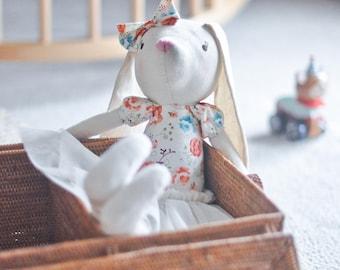 Audrey, Vintage Floral Bunny, Ballerina Doll, Handmade Doll, Ragdoll, Nursery Decor