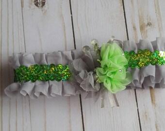 Prom garter, wedding garter, green and gray, green sequins