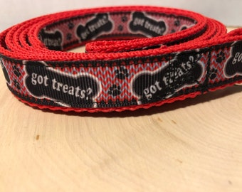 Dog leash with treat design