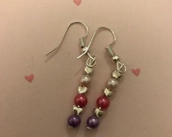 Simple pink drop earrings, heart drop earrings, glass bead earrings, pink and purple, gifts for her, bridesmaid gifts