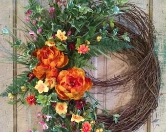 Silk Flower Wreath-Grapevine Wreath-Front Door Wreath-Summer Wreath-Porch Wreath