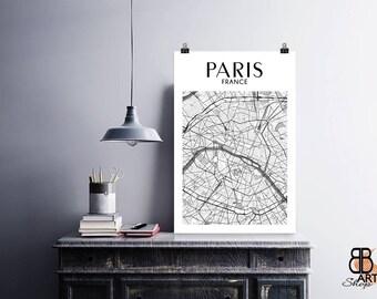 Paris Print, Paris Poster, Map of Paris, Paris Map Poster, Paris Wall Decor City Art, Paris City Poster, Paris Art Matte Paper Poster