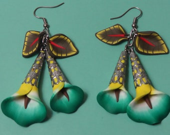 Polymer Clay Earrings Large Green Calla Lily with Leaves