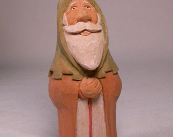 Santa woodcarving Hand Carved Sculpture from Basswood