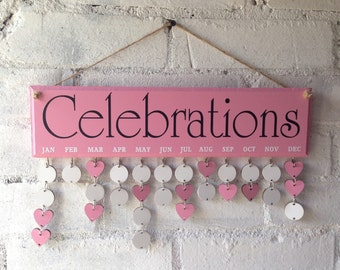 Pink home decor, Celebrations wooden board, organiser complete with 30 disks. Birthdays, anniversaries, dates, diary
