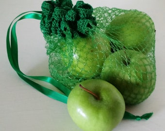 Market Produce Bag Tote Reuseable Green Eco-friendly Crochet Upcycled Recycled Ooak
