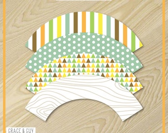 Camping Party - Cupcake Wrappers - Camping Party Printables