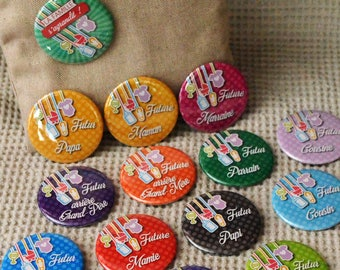 """KIT """"Birth announcement"""" in colorful tones - 16 badges 56mm"""