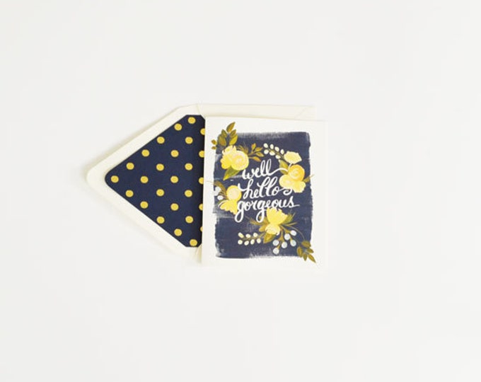 Greeting/Note Card 'Hello Gorgeous!'  {Greeting Card w/Navy Accents}