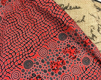 Australian Aboriginal Fabric--Fire Dreaming Red--Aboriginal Design--Quilt Fabric--Cotton Fabric--Australian Fabric by the HALF YARD