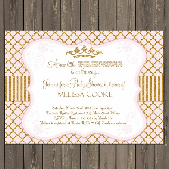 Princess baby shower invitation gold and pink baby shower like this item filmwisefo Choice Image