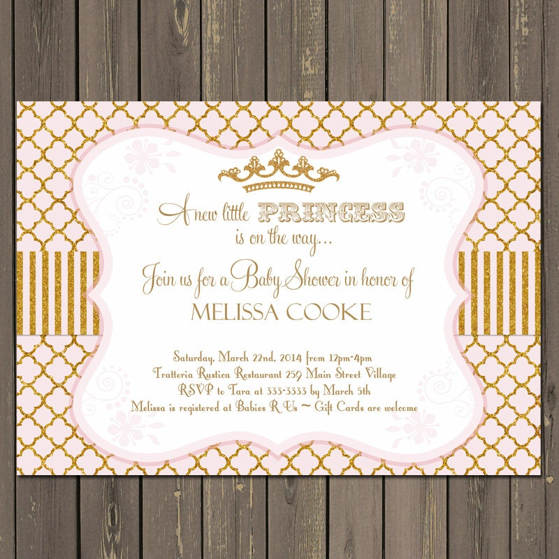 Princess Baby Shower Invitation Gold and Pink Baby Shower
