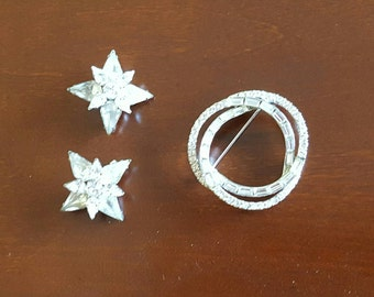 Pin jewelry Rhinestine moon stars set silver vintage scatter pins Brooches