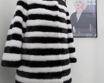 Fashionable Black and White Fur Coat with Leather Stripes F336