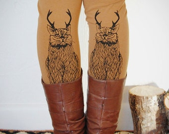 Wild Catalope Leggings - Womens Camel Jersey Spandex High Waist Cat wild catalope Leggings - Camel and Black - by Simka Sol