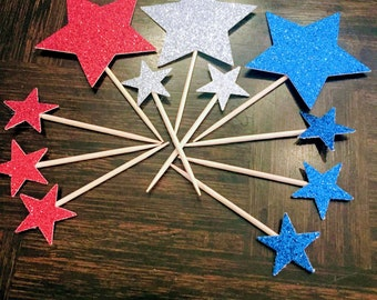 4th of July Cupcake Toppers Red Blue White  Star Glitter Star Cupcake Toppers 12 pieces Independence Day Fourth of July Party Decor