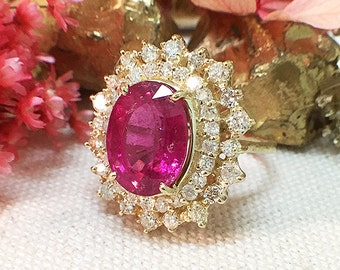 One-of-a-Kind |  5.15CT Pink Tourmaline Ring | 1.19CT Diamonds | Solid 14K Gold | Estate Fine Jewelry | Free Shipping