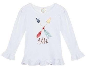 Arrow Ruffle Shirt - Girls Personalized Tee Shirt - Ruffle Tee Shirt -