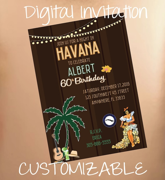 Simple Havana Nights Digital Birthday Invitation Cuban