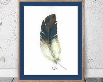Feather Watercolor Feather Wall Art Watercolor Painting Blue Feather Art Brown Indigo Feather Prints Feather Wall Decor White Feather Art