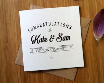 Engagement Card | Wedding Card Personalised / Congratulations on your engagement | Greetings card