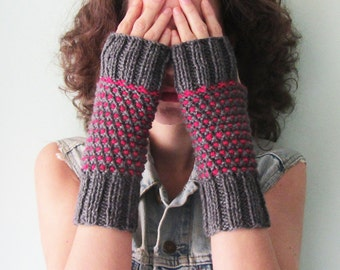 Knit Fingerless Gloves in Gray and Fuchsia Winter Gloves for Women Half Fingers Gloves Hand Warmers Wool Mittens Boho Gift Ready to Ship