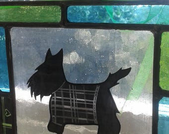 Scottie dog with a sweater. Stained glass panel. Gift for a dog lover.