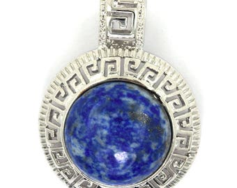 25mm blue lapis lazuli silver plated coin pendant bead 35377