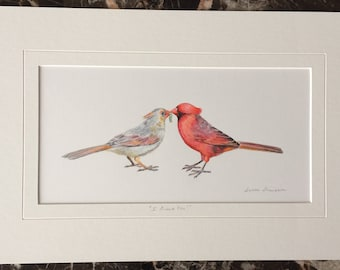 Cardinal Pair Original Acrylic Painting, male and female cardinal art, love birds, original bird art, anniversary gift, wedding shower gift