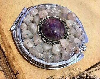 Miroir de poche en Améthyste & Quartz Roses
