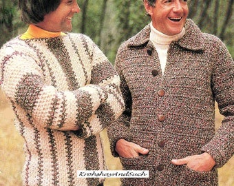 Mens Sweater And Jacket, Crochet Pattern. PDF Instant Download.
