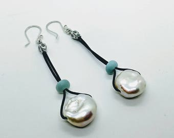 Handmade Boho Beach Lovers Fresh Water Pearl Amazonite Dangle Earrings - Prima Donna Beads