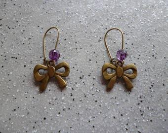 Bronze metal bow earrings