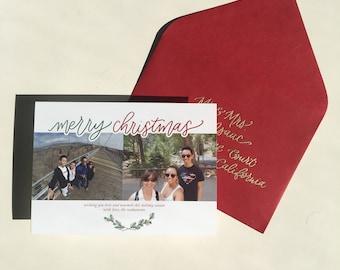 merry christmas photo holiday card | hand lettered holiday card, monoline hand lettered holiday card