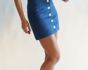 90's Skirt - Organic Cotton & Natural Dye (Indigo)