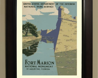 Fort Marion St. Augustine Florida Travel Poster - 3 sizes available, one low price.