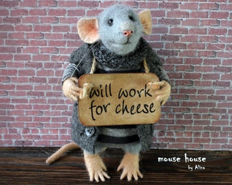Homeless Mouse, Collectible doll, Felted Mouse, Soft Sculpture, Felted Animal, Cute Felt, Cloth dolls, Waldorf Doll, Art Doll