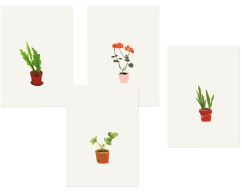 Set of 4 postcards 'Plants'