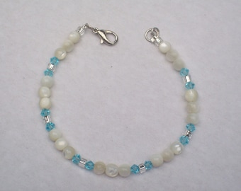 Blue Crystal and White Vintage Beads Bracelet It's a Boy Birth Announcement Gift for New Mom