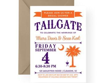 Clemson Tailgate Party Invitation South Carolina Palmetto Moon Bridal Shower, Engagement, Wedding Rehearsal Dinner, Birthday, Anniversary