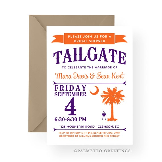 Clemson Tailgate Party Invitation South Carolina Palmetto Moon