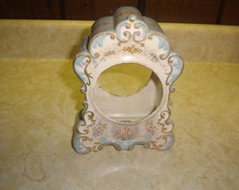 vintage porcelain clock case only blue pink flowers cherubs