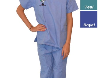 Kids Scrubs with Mad Scientist Embroidery Design