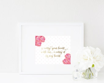 Wall Art Print | Girls | I carry your heart with me, I carry it in my heart