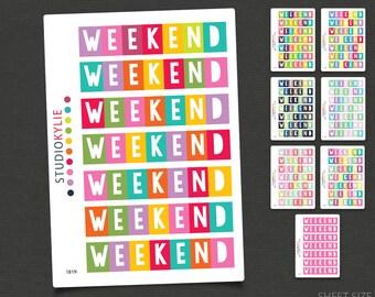 Weekend Planner Stickers  -  To Suit Erin Condren LifePlanner™ - Repositionable Matte Vinyl