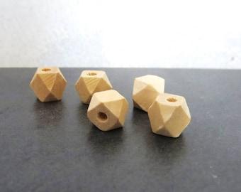 wood 5 wood polygon beads 10 mm